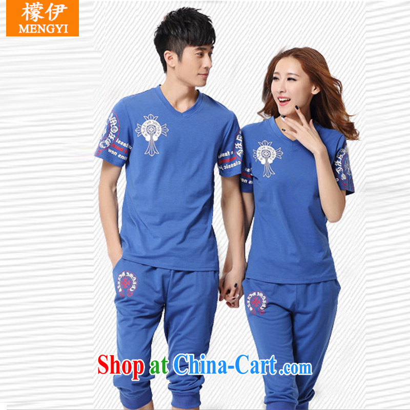 Was the 2015 new summer couples 7, Yi package men and women sport and leisure short-sleeve kit Q 902 blue XXXL