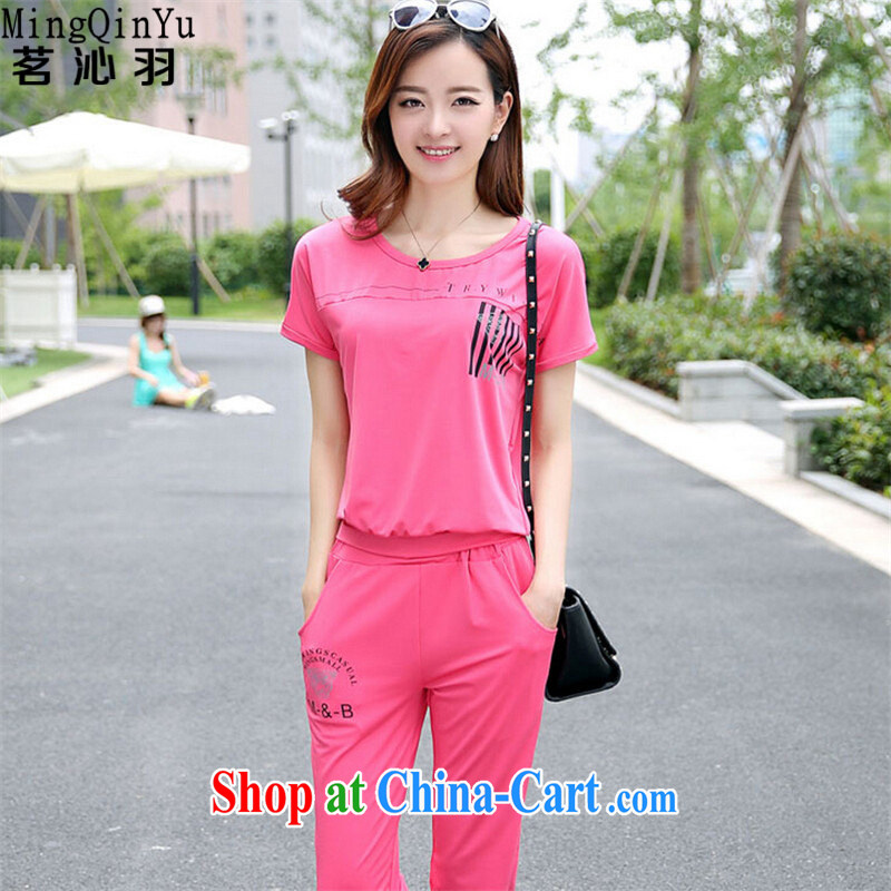 tea wafted Yu 2015 summer Korean version of the new, larger female leisure short-sleeve two-piece Sport Kit 0386 red L