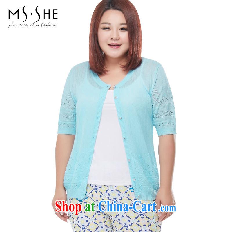 The MSSHE indeed XL women 2015 new summer Openwork knitting Air Conditioning shirt jacket 4153 light blue 3 XL