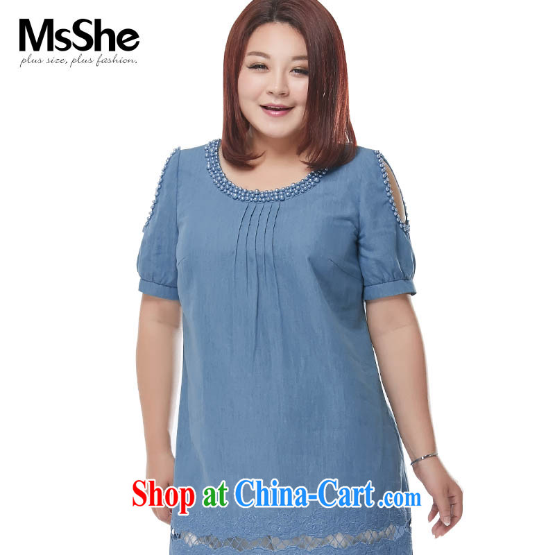 MSSHE XL ladies' 2015 new summer wear jeans cotton embroidered long T-shirt Dress Shirt 4193 light blue jeans blue 3 XL