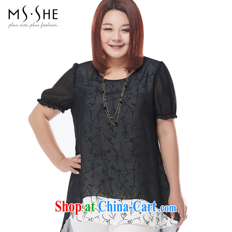 The MSSHE indeed increase, female snow woven shirts summer 2015 new FAT sister, long, loose T-shirt snow woven shirts 4340 black 2 XL