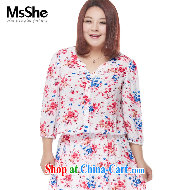 MSSHE XL girls 2015 new summer wear thick sister V stamp duty for 7 sub-sleeved shirt white 4513 stamp duty 3 XL