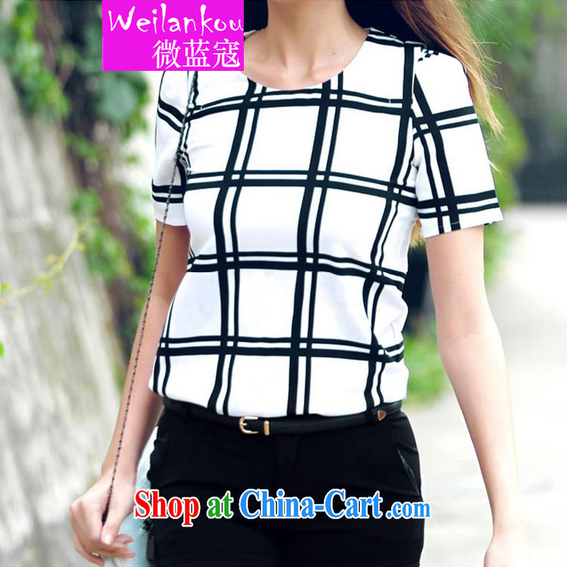 Micro-blue Curtis 2015 summer new short-sleeved snow woven shirts thick MM black-and-white checkered loose video thin shirt, black-and-white checkered 5 L