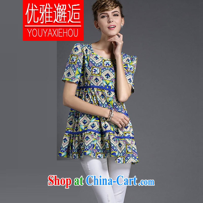 Elegant Greer Garson 2015 Summer in Europe and the new, the FAT and FAT sister graphics thin short-sleeve floral snow woven shirts _pregnant women are also suitable for picture color 4 XL