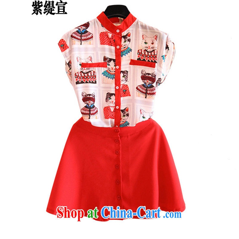 Purple long-sun Korean summer new women with thick mm stylish two-piece kitten stamp snow woven shirts shirt T-shirt + short skirt 7219 _5 XL 180 - 200 Jack left and right