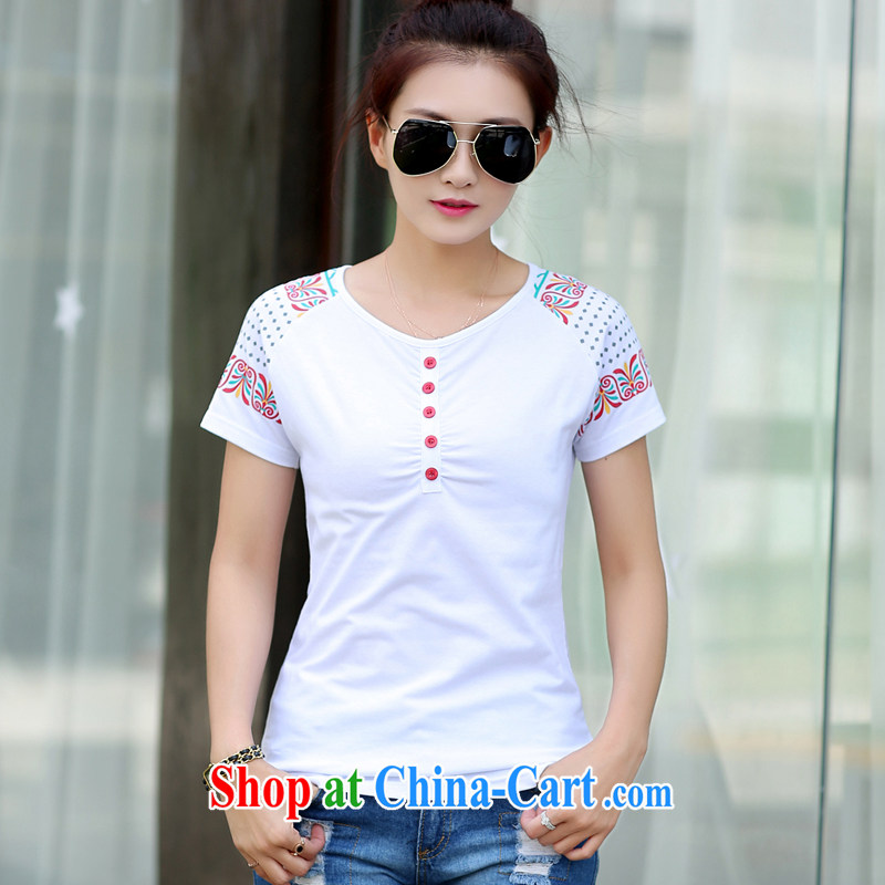 The Diane 2015 new the fat 200 Jack The Code women mm thick summer thick sister short-sleeved T-shirts female Korean king white 4XL recommendations 165 - 180 jack