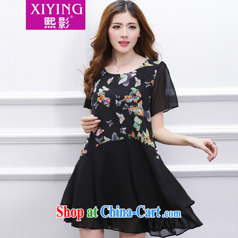 Mr Chau Tak-hay shadow larger female summer new thick mm stylish stitching stamp snow-woven loose video thin dresses black XXXXL - recommendations 171 - 185 jack