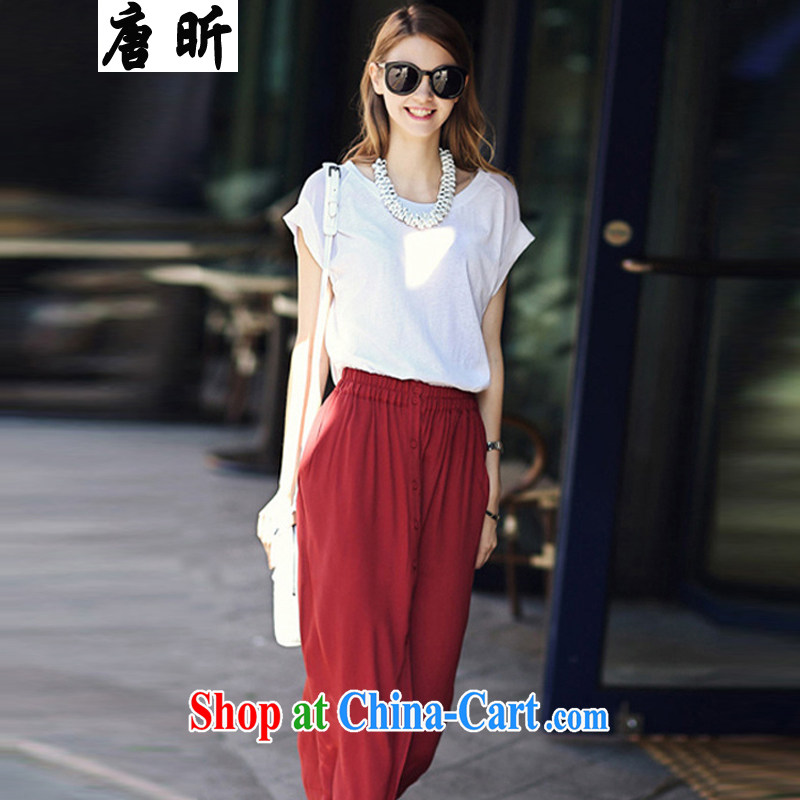 Tang year girl, summer, the United States and Europe, the female Two-piece snow woven dresses and indeed intensify thick MM white + red skirts_133 4 XL 165 - 175 Jack left and right
