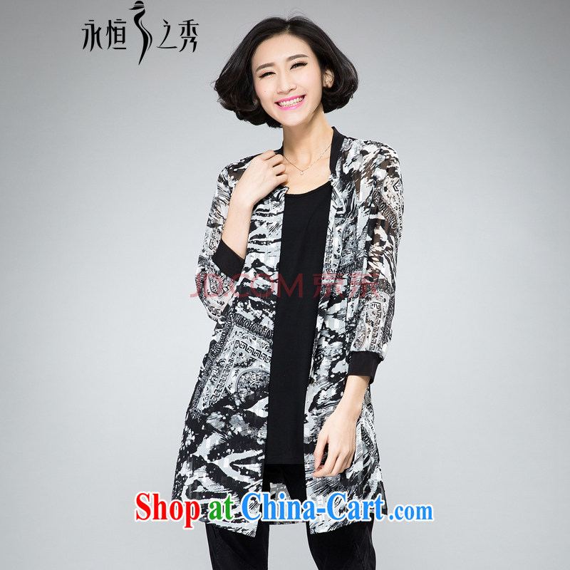 Eternal show the fat XL female snow woven shirts thick sister summer 2015 new thick mm thick, graphics thin, gold, stamp duty on T-shirt shirt jacket black 3 XL