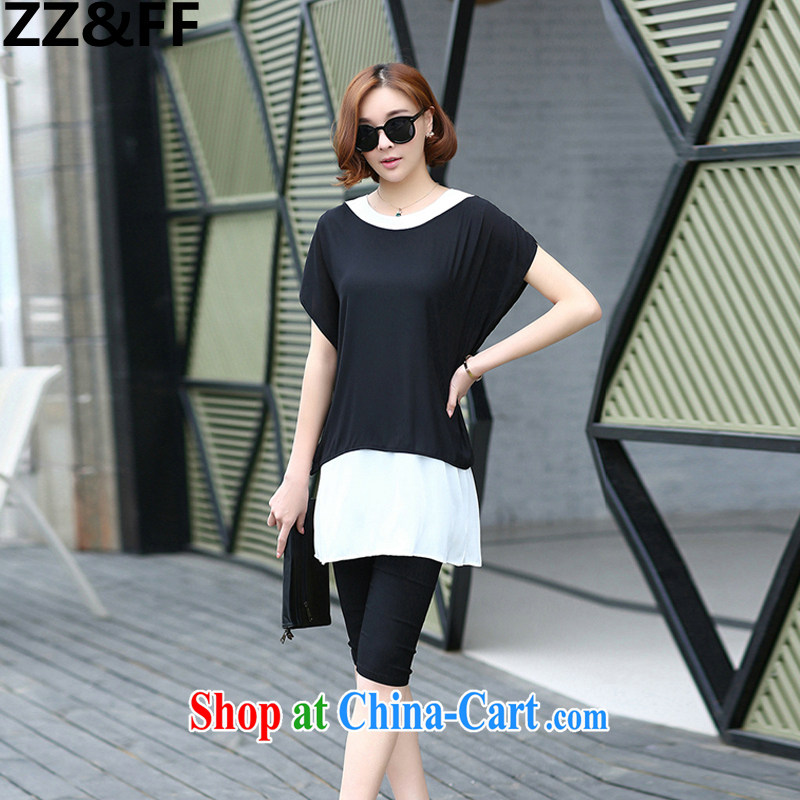ZZ &FF 2015 the United States and Europe, female summer mm thick leave of two T-shirt black pants two piece set with the FAT and two-piece picture color XXL