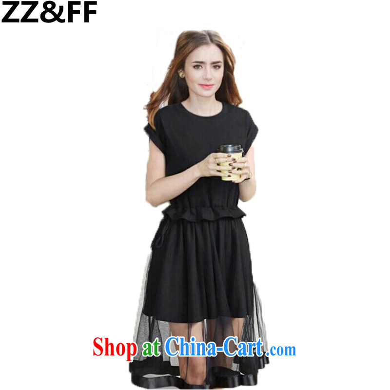 ZZ _FF 2015 the code summer and indeed the long, Jack 200 mm thick new European short-sleeved dresses black XXXXXL