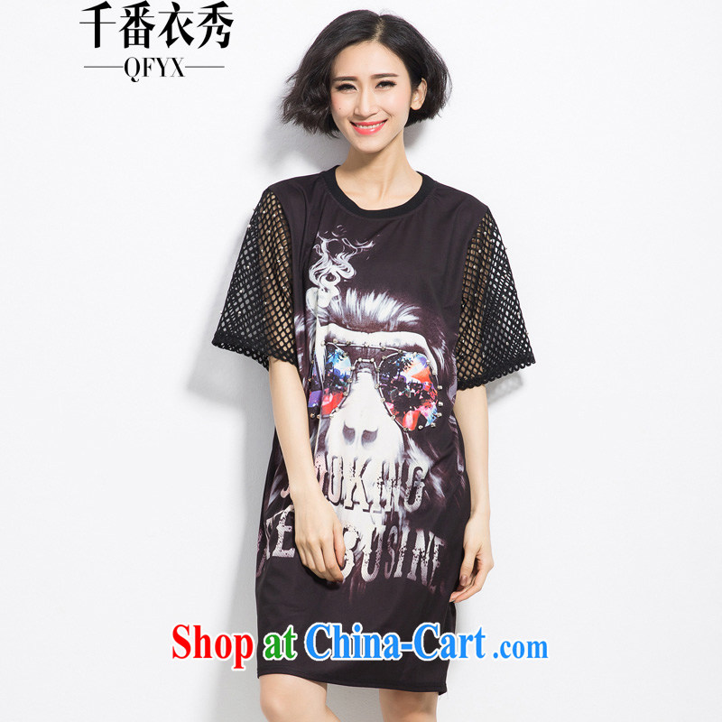 1000 double Yi Su-ha, mm thick in Europe and America, the female long digital stamp 100 ground graphics thin dresses X 2262 black XXL
