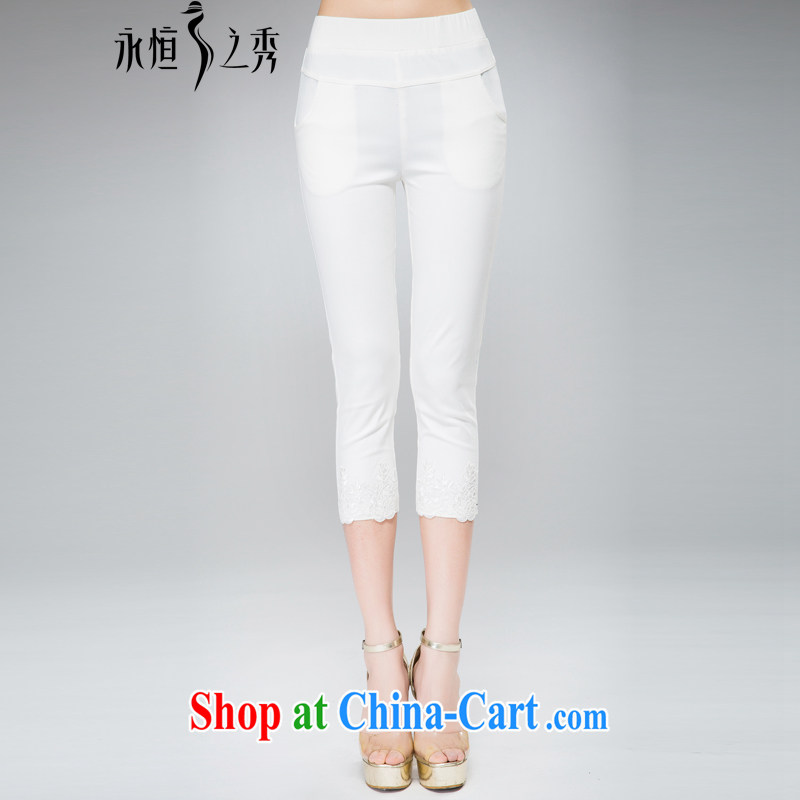 Eternal show the fat XL girls 7 pants thick sister 2015 summer new thick mm thick, graphics thin 100 ground lace pant legs leisure pants white 5XL