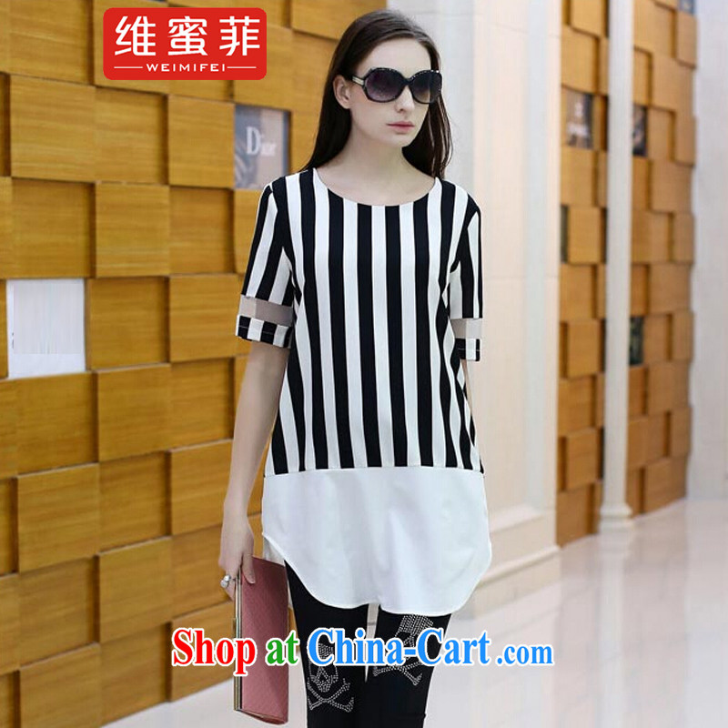The honey , 2015 Summer in Europe and the new emphasis on the MM is indeed increasing, female T shirts loose T-shirt short-sleeved snow woven shirts picture color the code XXXXL