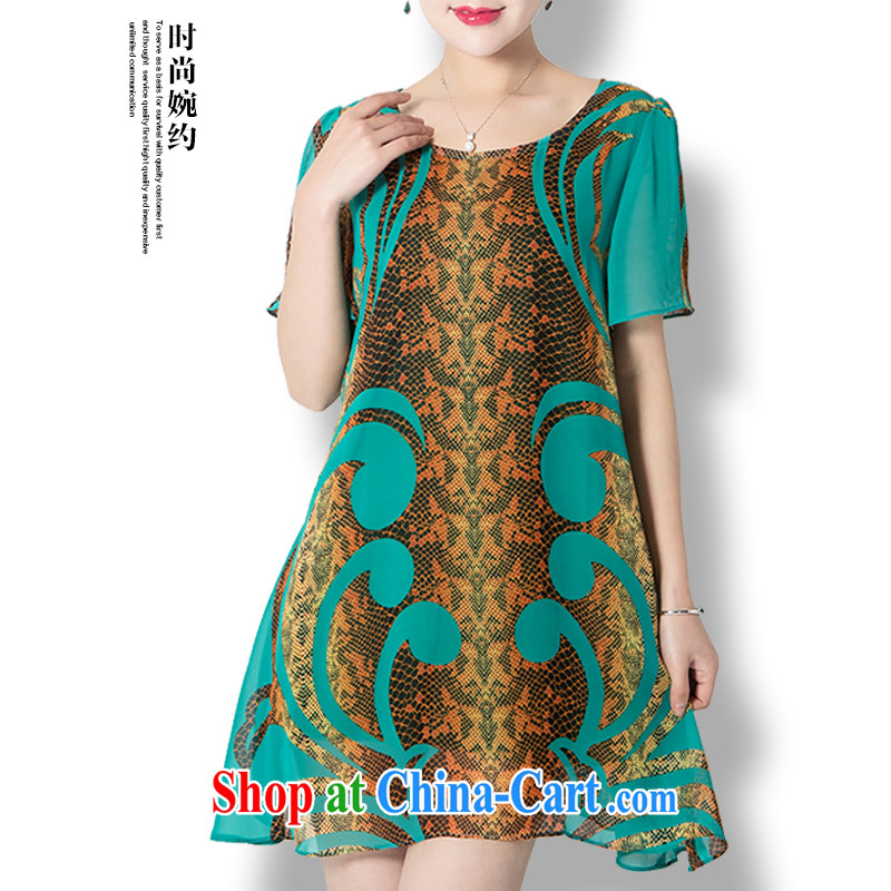 2015 new stylish MOM replace snow stamp duty woven dresses, older women summer is indeed the XL light and comfortable short-sleeved dresses green XXXXL