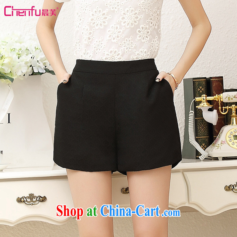 Morning would be 2015 summer Korean version of the new, thick mm stylish lounge stamp shorts 100 on board the code shorts girls and indeed XL solid color jacquard 3 pants black 5 XL