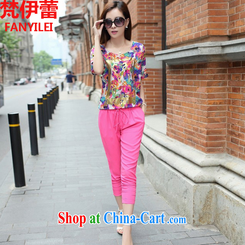 Van Gogh, ballet summer 2015 New, and indeed increase, women with a short-sleeved shirt T thick sister Korean version 7 pants Leisure package of red code 3 XL