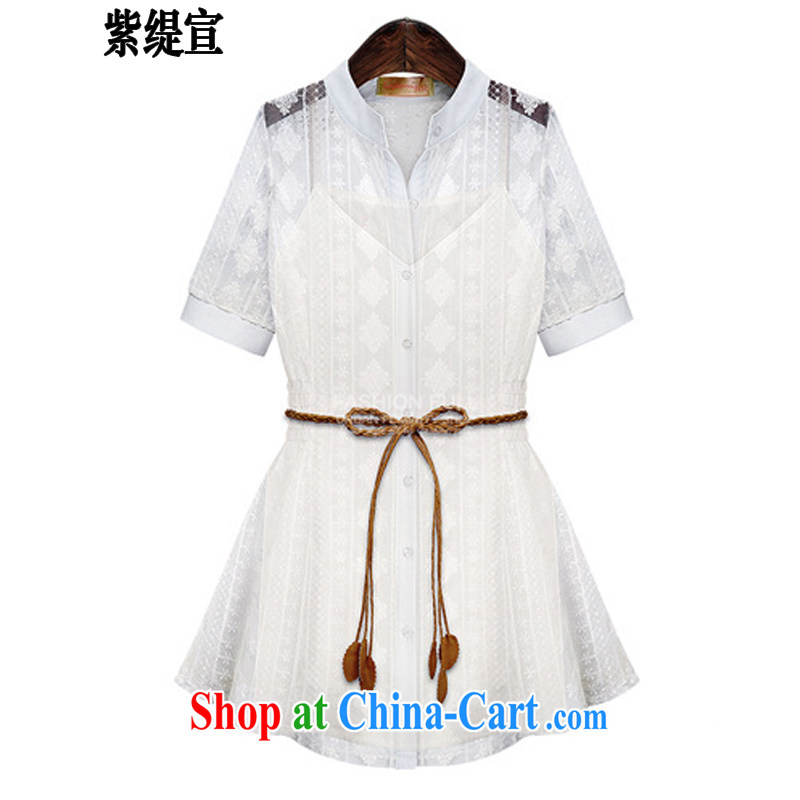 first economy in Europe and declared the code lace Openwork two-piece dress, long, short-sleeved shirt T-shirt + back with 1947_White 5 XL 180 - 200 Jack left and right