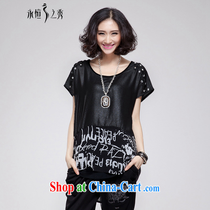 Eternal show the fat XL female snow woven shirts thick sister 2015 summer new thick mm thick, graphics thin, stamp duty, long, loose T-shirt leave of two black large code