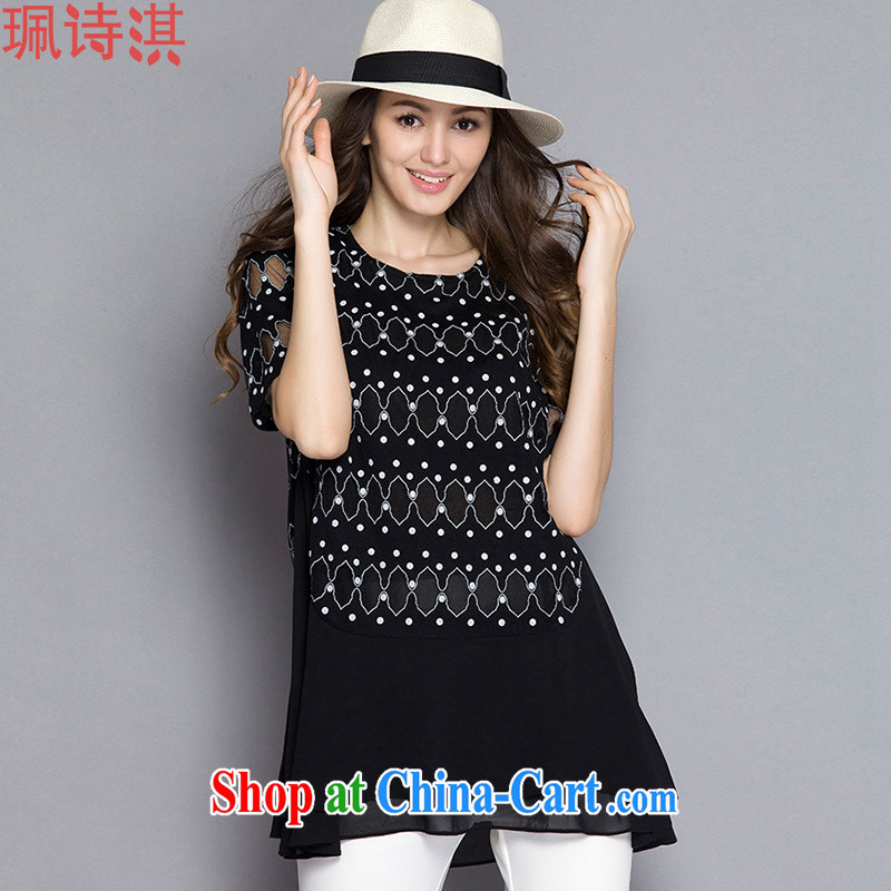Elizabeth Quat-ki poetry summer 2015 the Code women high-end European and American plus obesity sister short-sleeved snow spinning shirt black 5 XL for 200 - 210 jack
