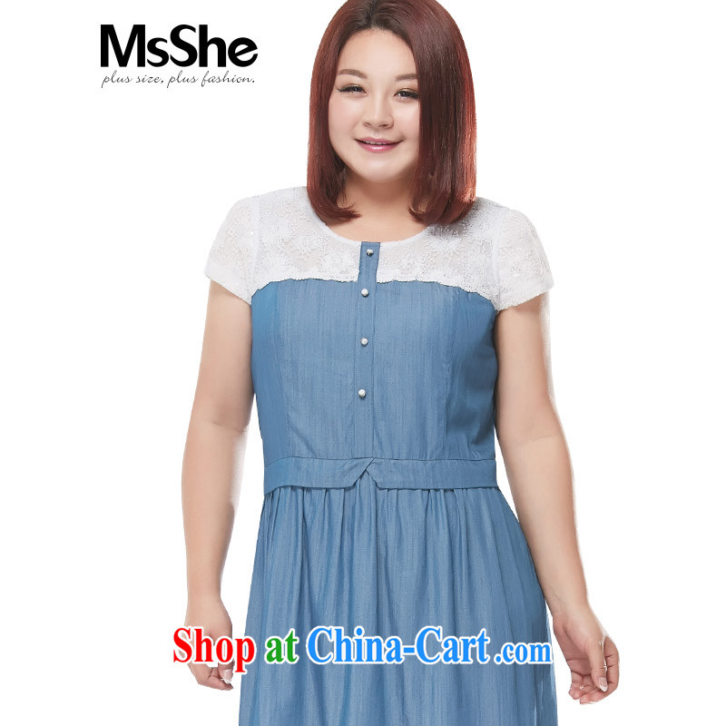 MSSHE XL women summer 2015 new thick sister lace stitching denim dress 4221 light blue jeans blue 3 XL
