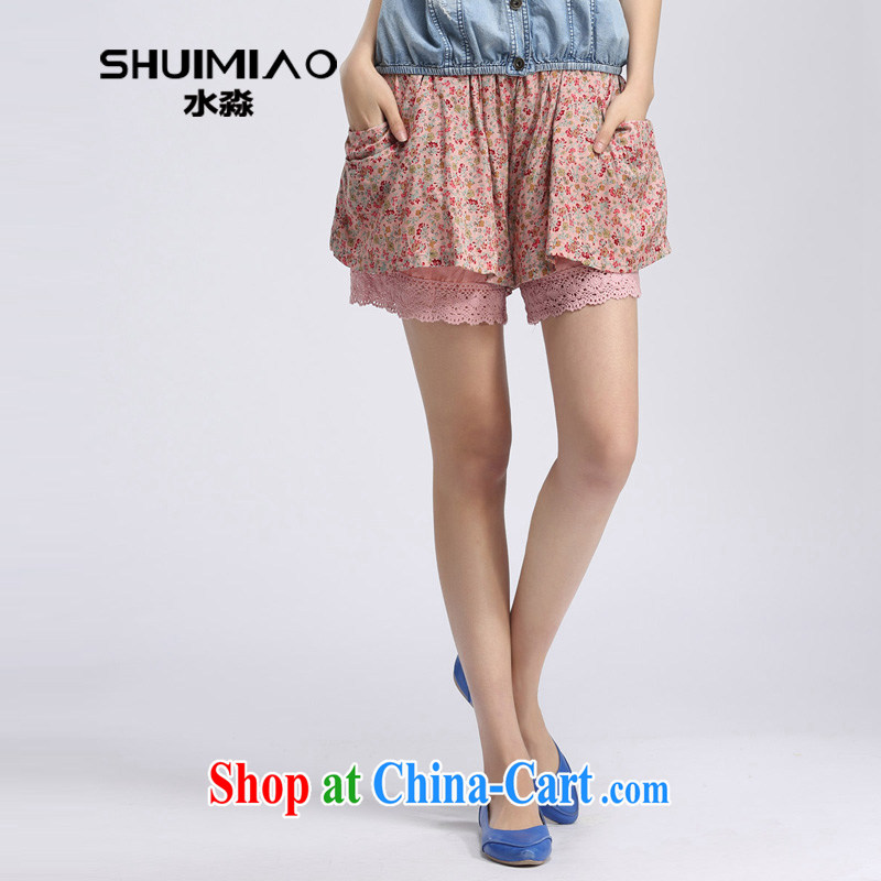 Water with larger female 2014 summer new thick mm stylish 100 ground Korean floral shorts S XT 14 3194 pink flower XXL