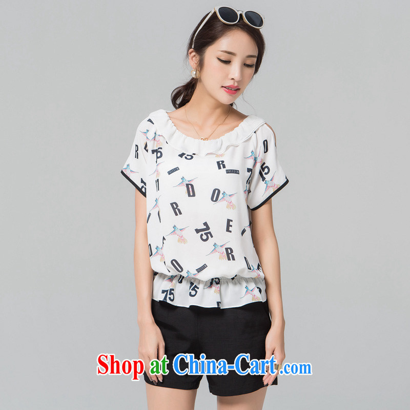 blue if the water maximum code female T pension 2015 summer new thick MM loose flouncing for bare shoulders short-sleeved snow woven shirts large white code 2XL