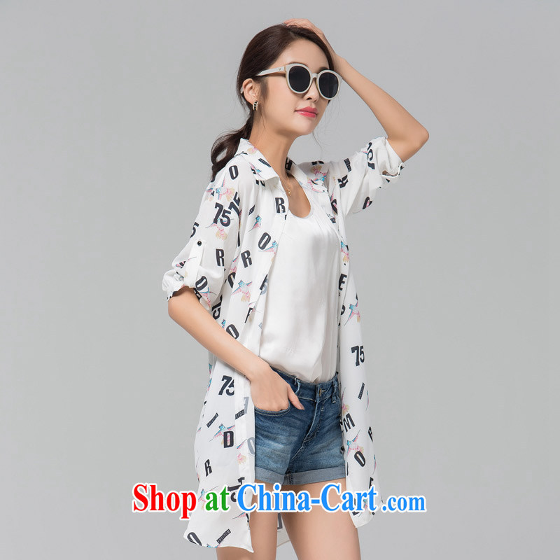 blue if the water increase, female-yi 2015 summer new thick MM loose stamp long snow-woven shirt large white code L