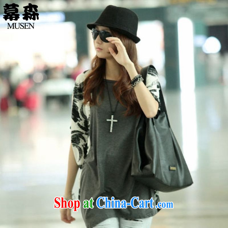 The sum 2015 summer Korean loose the fat XL leisure thick sister graphics thin collision in color long bat T-shirt 200 jack to wear a gray are code