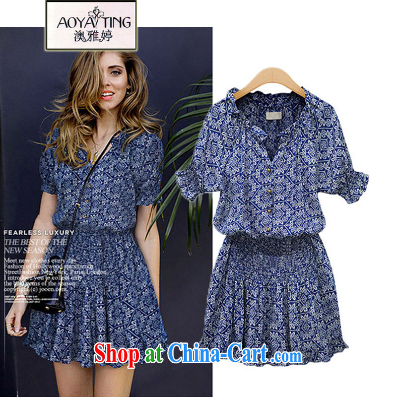 o Ya-ting 2015 New, and indeed increase, female summer thick mm video thin short-sleeved cotton the dresses girls dark blue 5 XL recommends that you 175 - 200 jack