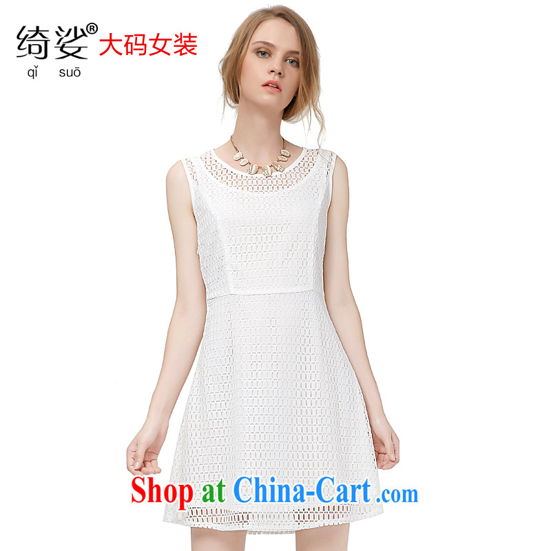cheer for 2015 XL girls thick MM summer new ladies solid color lace graphics thin mask poverty sleeveless larger dresses 2731 white 3XL
