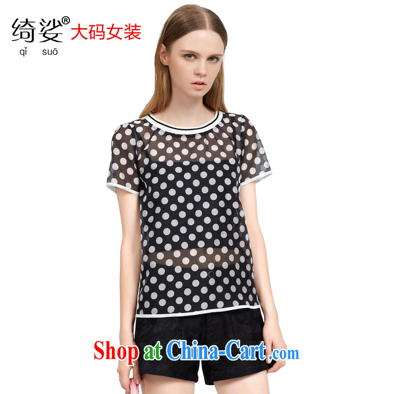 cheer for 2015 XL girls thick MM summer new Korean Wave point video thin black-out poverty short-sleeved Web yarn T pension 2790 black 3 XL