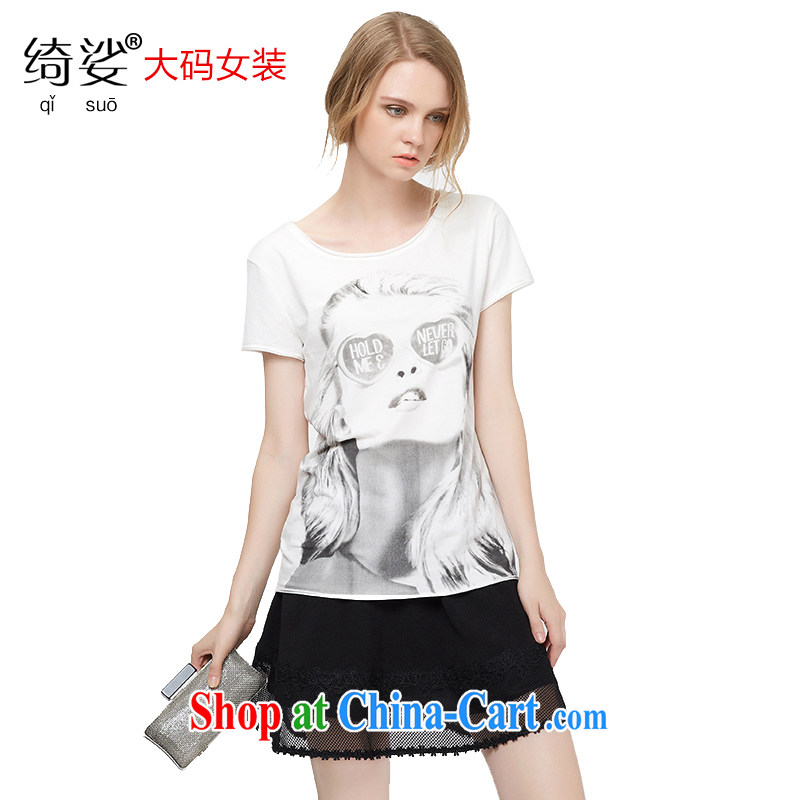 cheer for 2015 XL girls with thick MM summer new figures stamp graphics thin black-out poverty and short-sleeved shirt T 2753 white 2XL