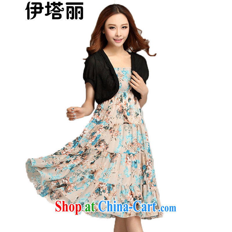 The Taliban, the Code women summer 2015 new Korean dresses the FAT and FAT sister graphics thin ice woven small jacket bohemian GALLUS DRESS beach skirt apricot 4 XL
