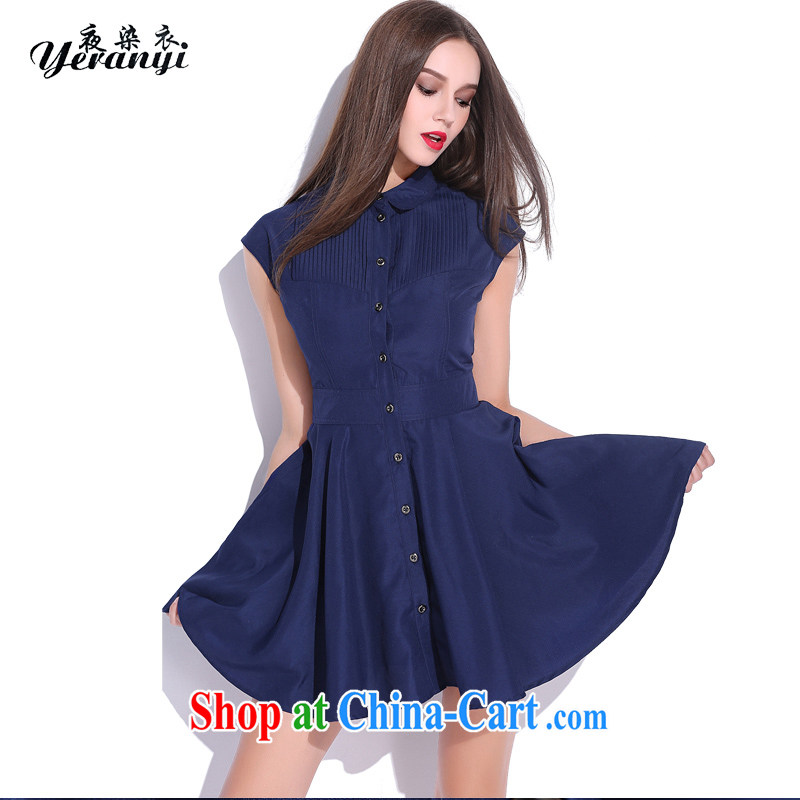 My dyeing clothing summer 2015 new Europe and North America, the ladies cardigan Sau San coin beauty dress dark blue 4 XL _155 - 170 _ jack