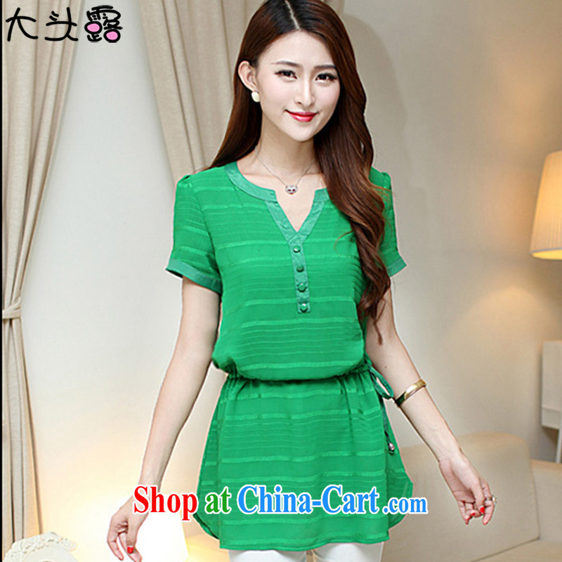 Large terrace summer 2015 new, larger female Korean video thin, long lace 6102 emerald XXL