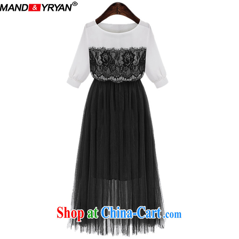 Romantic, 2015 new, larger female summer is the increased emphasis on MM graphics thin dresses ballet silk yarn stitching 5 snow cuff woven skirts MDR 1937/black XXXXL 165 - 180 Jack left and right