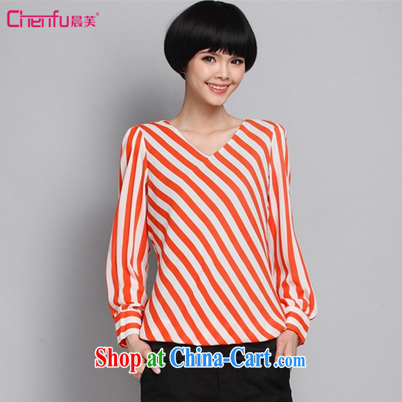 Morning would be 2015 spring and fall new and indeed XL girls decorated in V collar long-sleeved striped snow woven shirts thick mm hit color streaks graphics thin ice woven T shirt orange 5 XL _recommendations 180 - 200 jack_