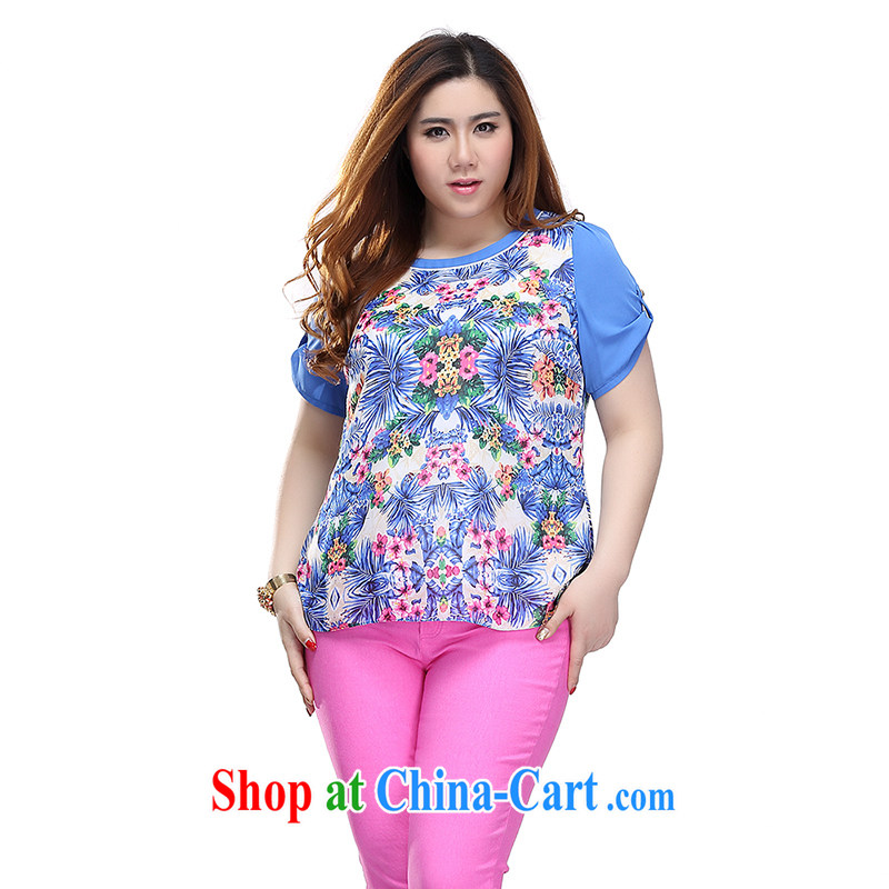 Slim Li-su 2015 summer new, larger clothes and stylish summer stamp duty hit-color cuffs on short sleeves and round neck snow woven shirts T-shirt Q 7258 blue 3 XL