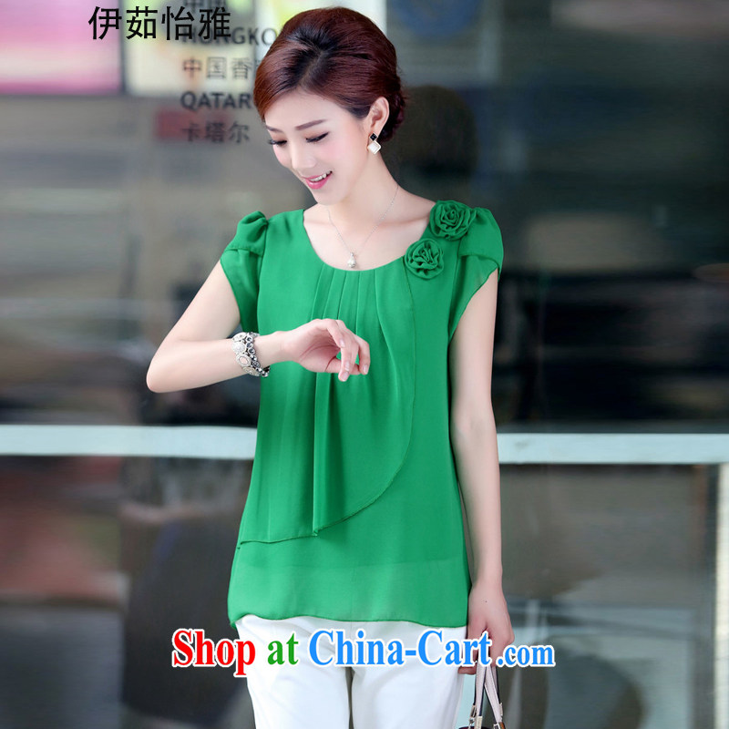 The Ju-Yee Nga middle-aged mother with summer thick sister manual order flowers T shirt short-sleeved larger female snow woven shirts T-shirt RY 6063 green XXXL