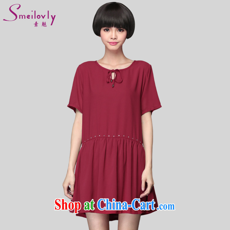 Director of 2015 summer new 200 jack and ventricular hypertrophy, women mm thick Korean short-sleeved loose snow woven dresses 2801 wine red code 5 XL 200 Jack left and right