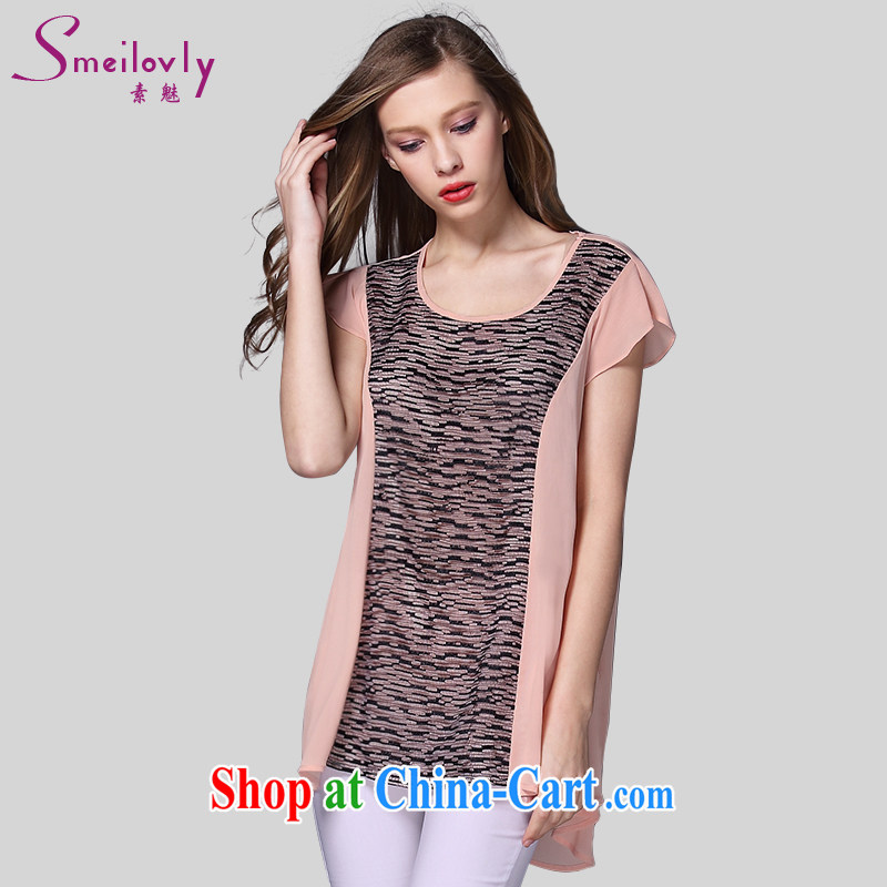 Director of summer 2015 with new, and indeed increase, female fat MM lace stitching T shirts snow woven shirts 1011 orange large code 5 200 XL about Jack