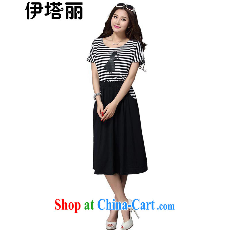 The tower, summer 2015 new larger women is the increased emphasis on people dress graphics thin, thick MM short-sleeved striped long dress 869 color streaks 5 XL
