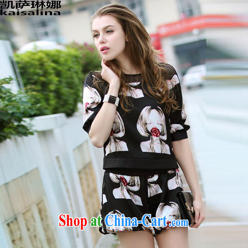 Catherine, summer 2015 new European and American wind thick mm larger female short-sleeve stamp T shirts shorts Kit female summer black XL