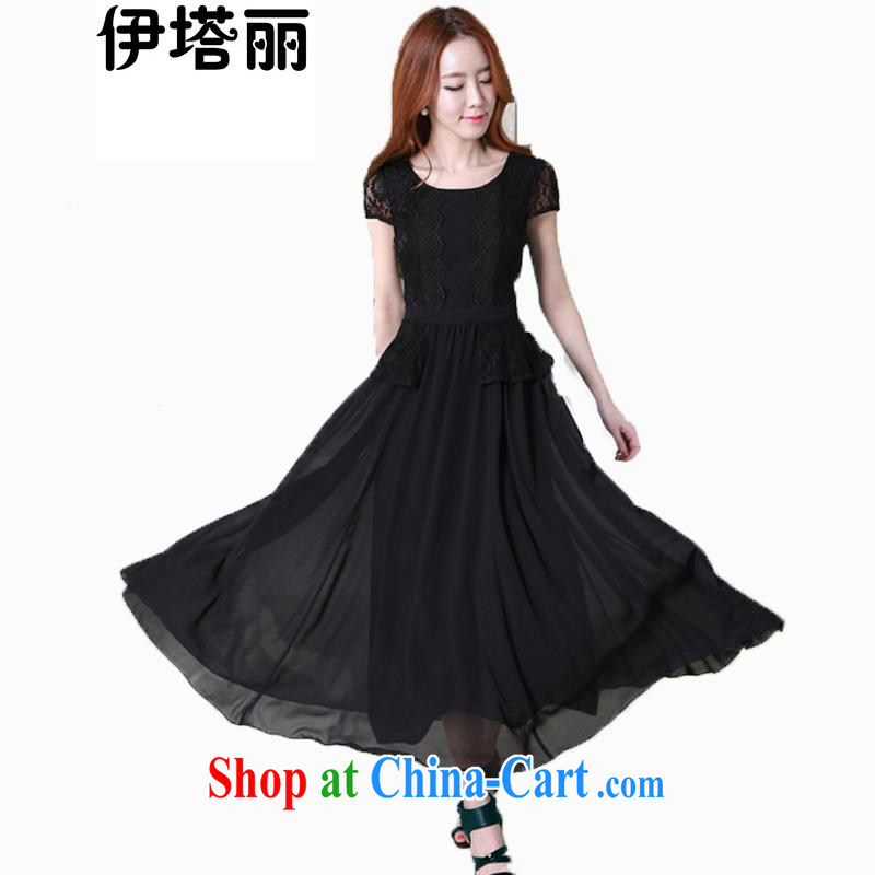 The Lai 2015 Korean version of the greater code female new summer beauty, sweet graphics thin short-sleeved lace large snow woven long skirt, long dress 99,210 black XXXXL