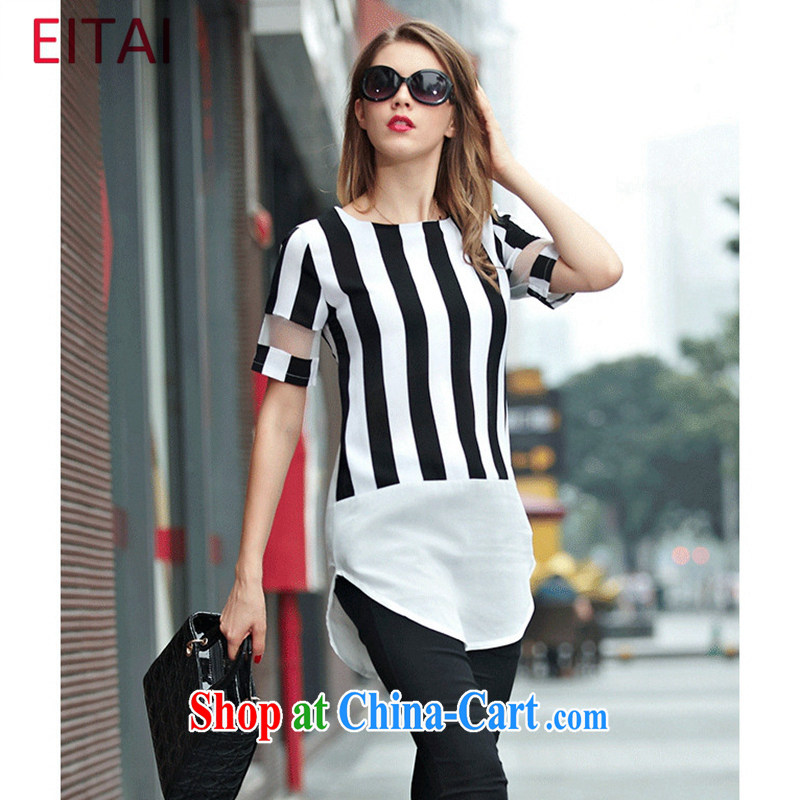 The EITAI Code women 2015 the FAT and FAT mm summer graphics thin stripes T shirt, long dresses picture color 4 XL 160 - 180 jack