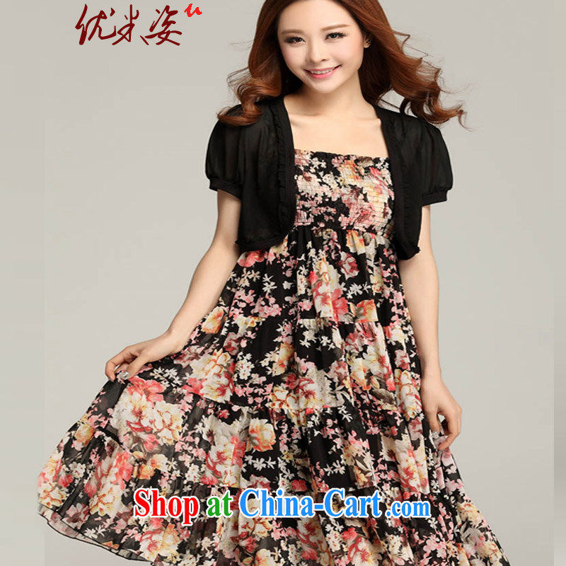Optimize m Beauty Package Mail Delivery 2015 summer resort Queen's beach dress code the dress bohemian sling dress and beauty video thin ice woven small jacket black 3 XL