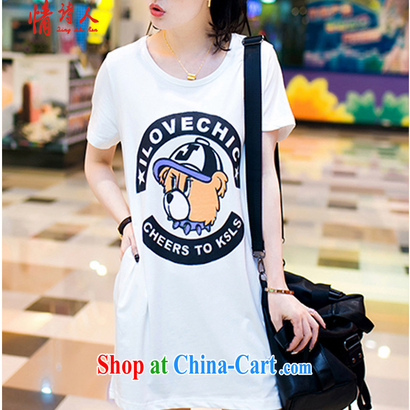 and poet 2015 thick MM summer Korean fashion, larger female loose short-sleeve, long T pension T 032 white XXL