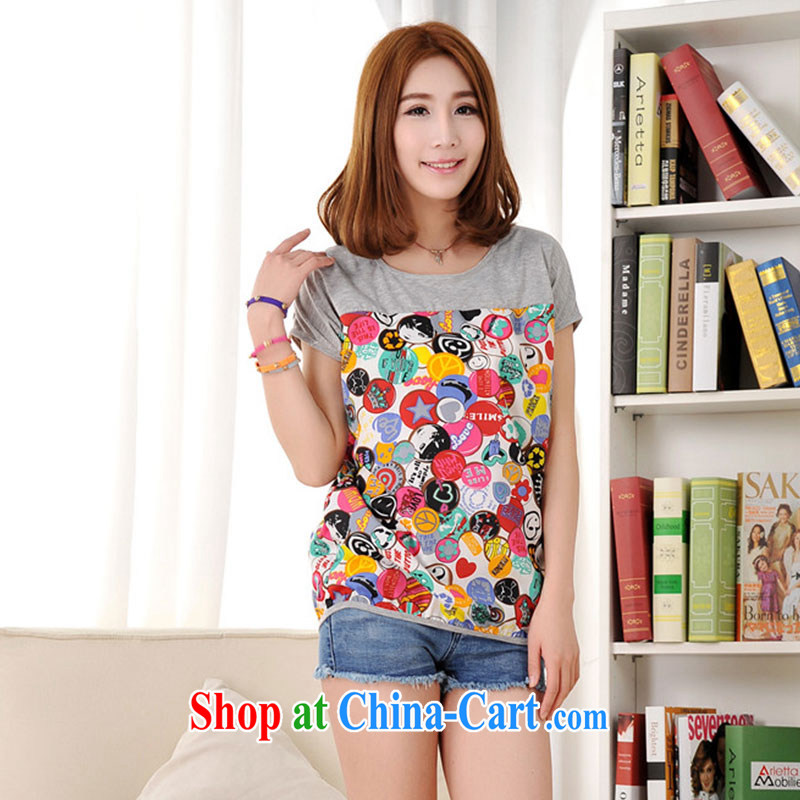 Extra-large, female 200 Jack obesity mm summer new Snow woven stitching short-sleeved T pension picture color 3XL recommendations 160 - 180 jack