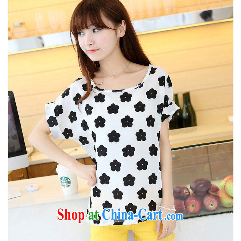 Korea and indeed increase short-sleeve thick mm summer 2014 graphics thin T-shirt thick sister quality stitching snow woven shirts female black 3 XL recommendations 160 - 180 jack
